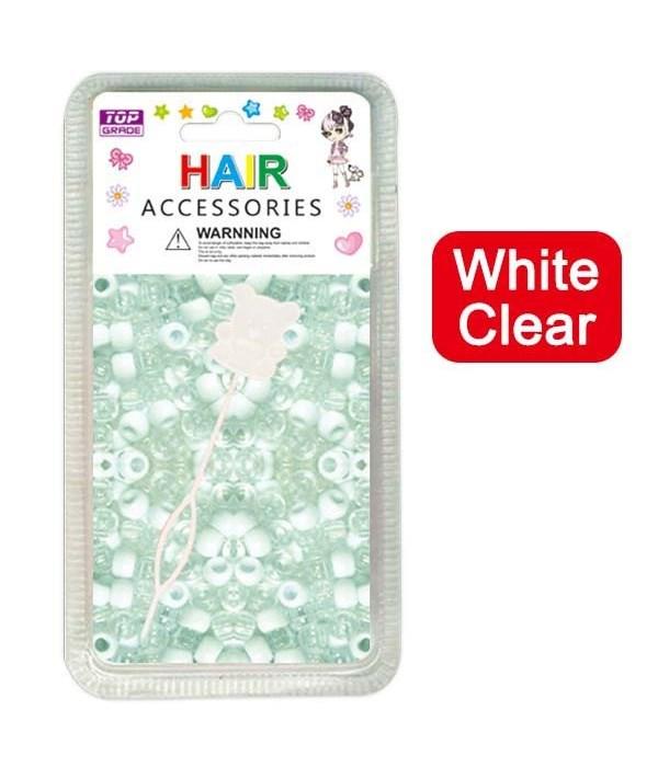 hair beads/wht+clear 24/144's