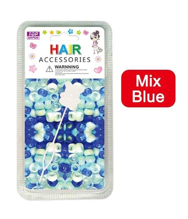 hair beads/mix blue 24/144's