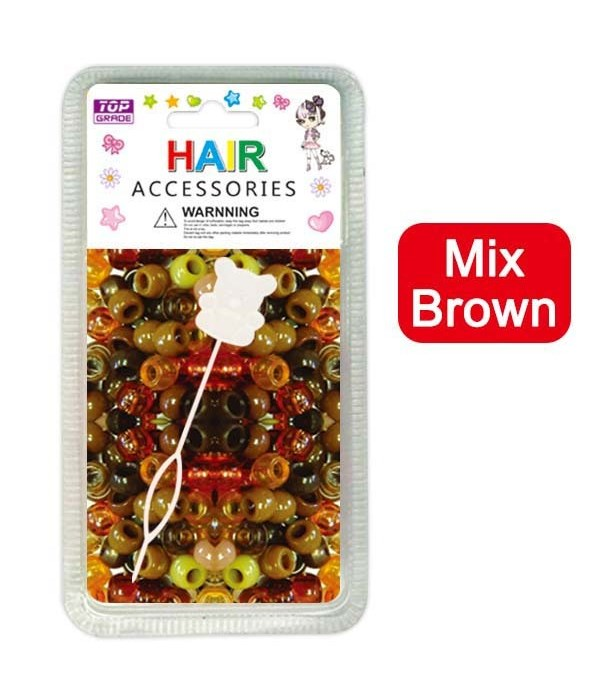 hair beads/mix brown 24/144's
