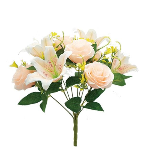 "16"" peach flower 5 roses 5"