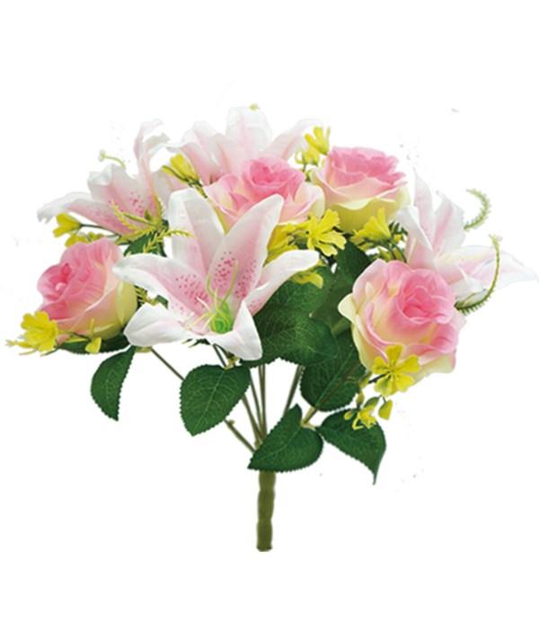 "16"" pink flower 5 roses 5"