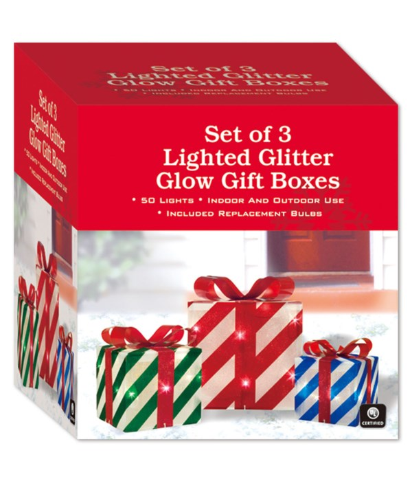 set of 3 lighted box 4s
