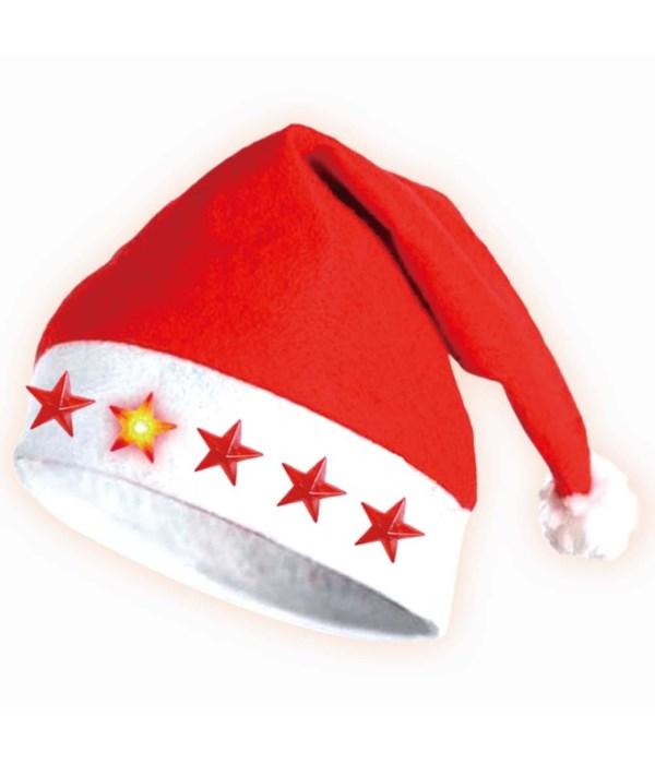 #07194 x'mas hat flashing star