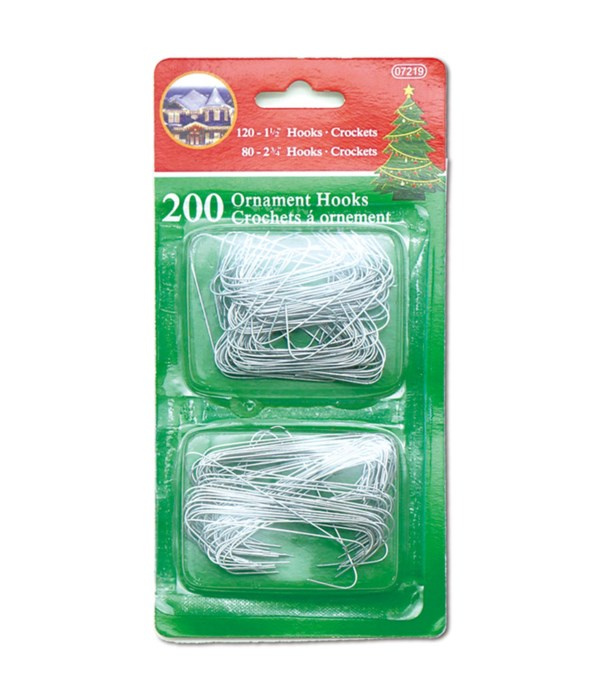 200ct ornaments hook silver 72