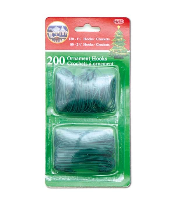 200ct ornaments hook green 72s