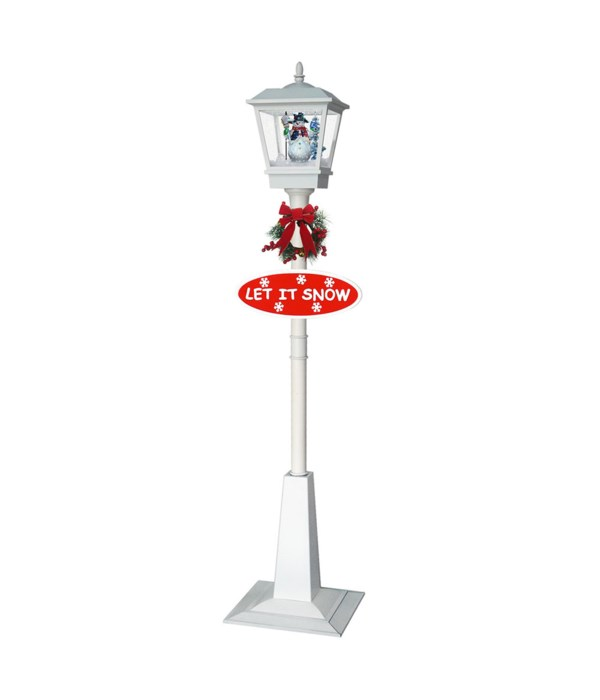 vertical snowing street lamp