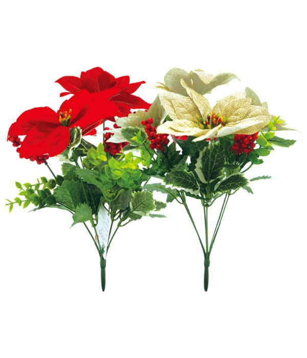 """14""""poinsettia red&gold 24/144s"""