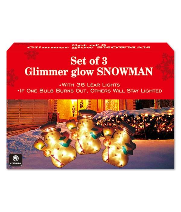 x'mas glimmer glow/snowman 6s
