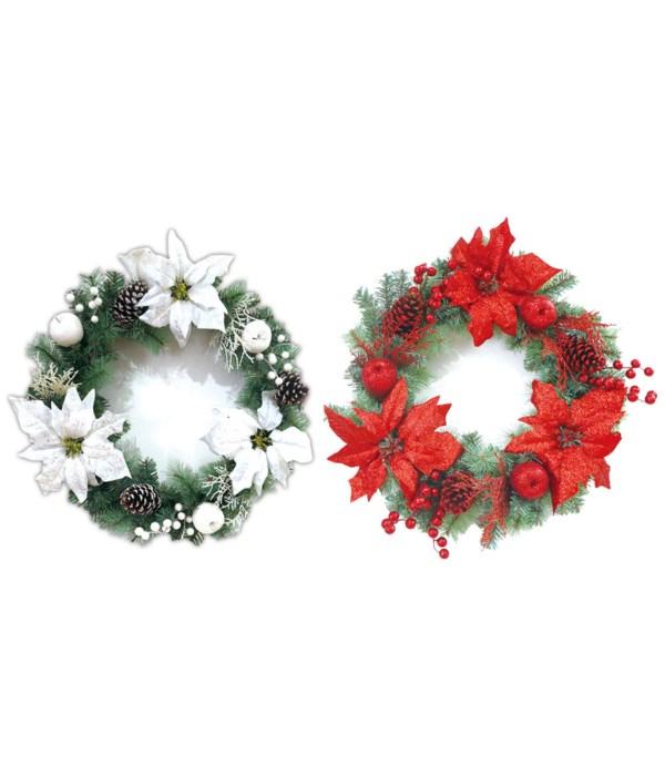 "x'mas wreath 2-dsgn 20""/12s"