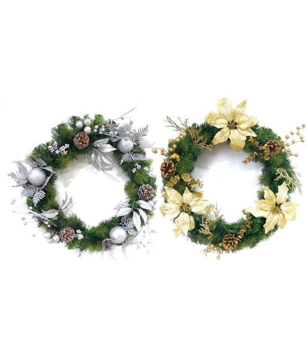 "x'mas wreath 2-dsgn 24""/12s"