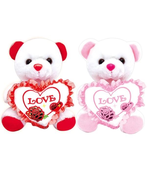 """8"""" bear w/love heart 24s"""