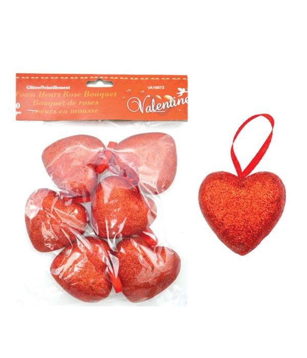 6pc heart pick w/glitter 48s