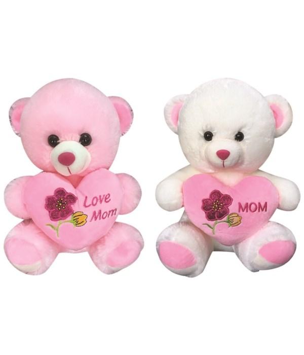 """9"""" bear w/heart Mom 12s"""