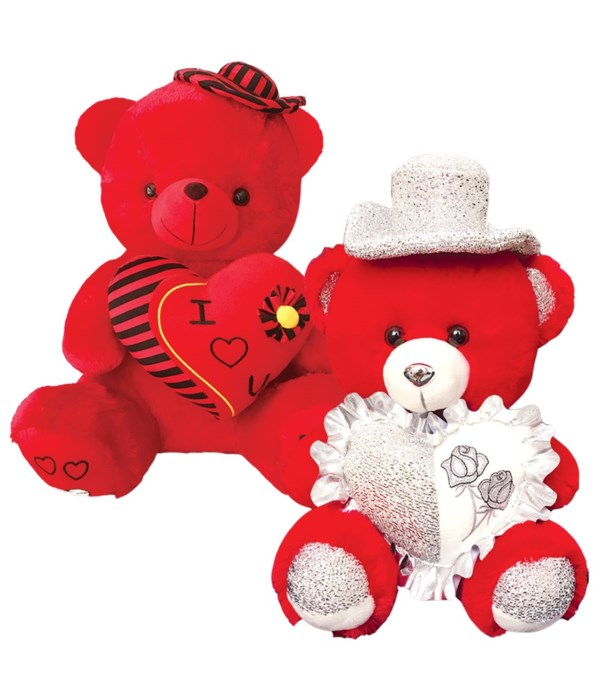 """12"""" red bear w/heart 12s"""