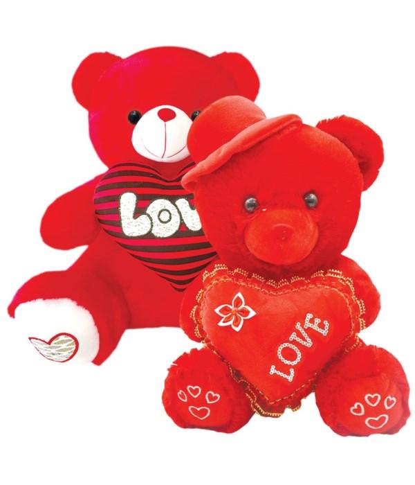 """16"""" red bear w/heart+hat 12s"""