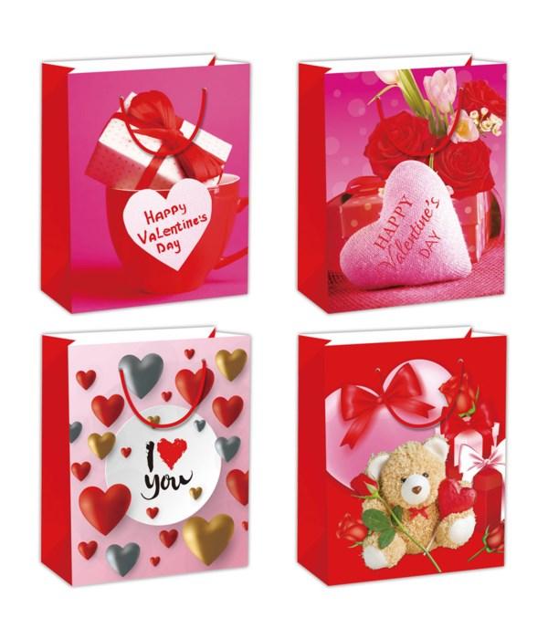 "V-day gift bag 10.5x13x5.5""/L"
