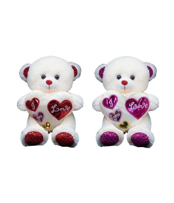 """9"""" bear w/heart 2-dsgn 24s"""