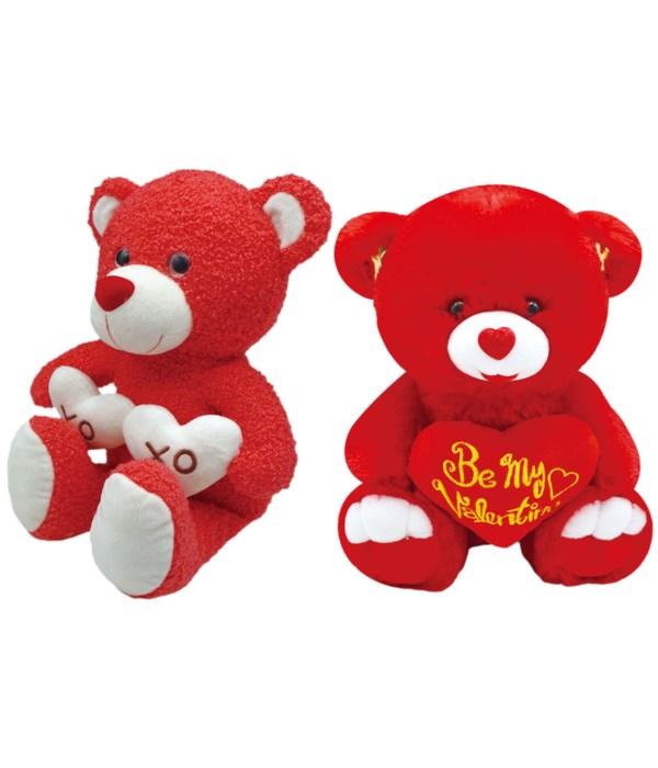 """9"""" bear w/heart red 2-dsgn 24s"""