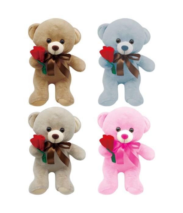 "9"" bear w/rose 4-color 24s"