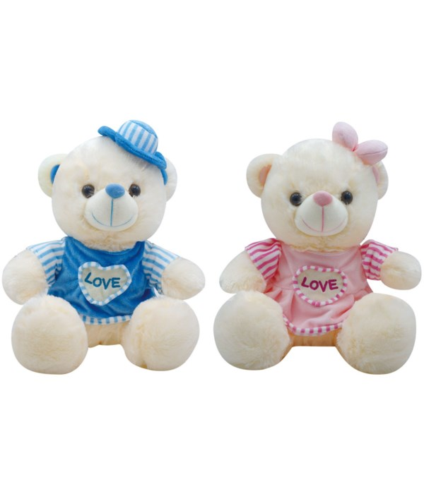 """9"""" bear w/clothing 2-color 24s"""