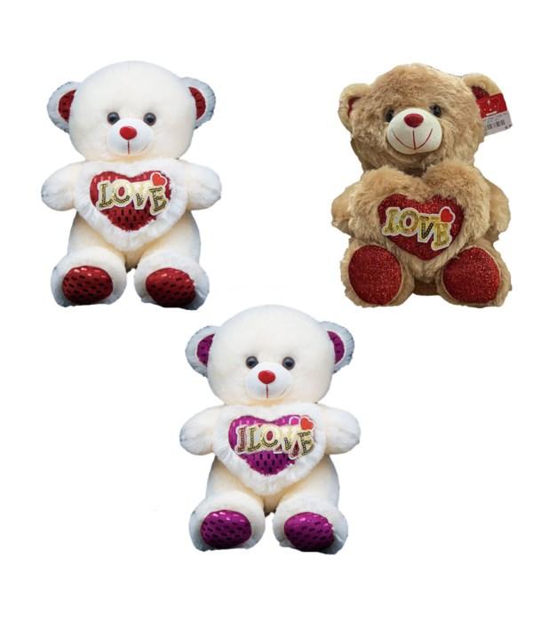 """12"""" bear w/heart 4-dsgn 24s"""