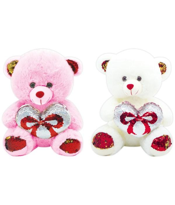 """9"""" bear w/heart 24s"""