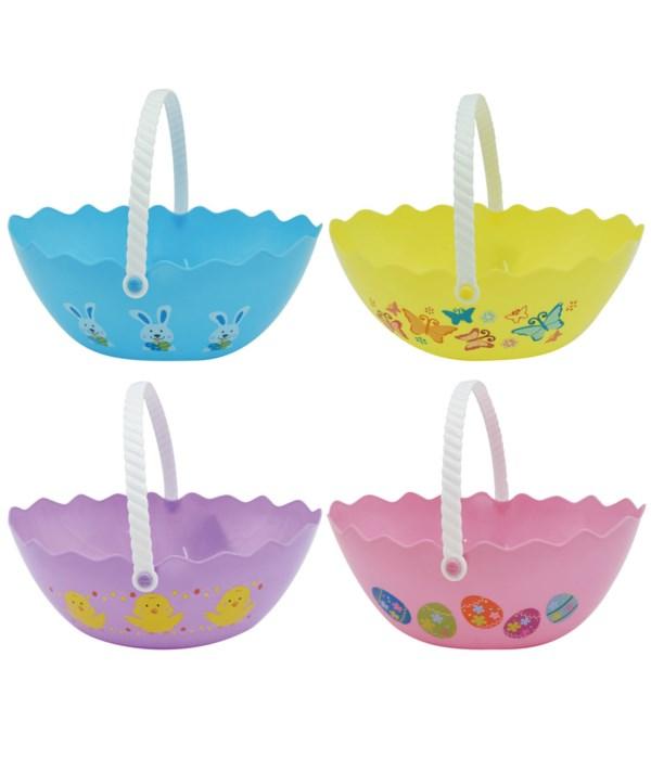 Easter oval plastic basket 24s