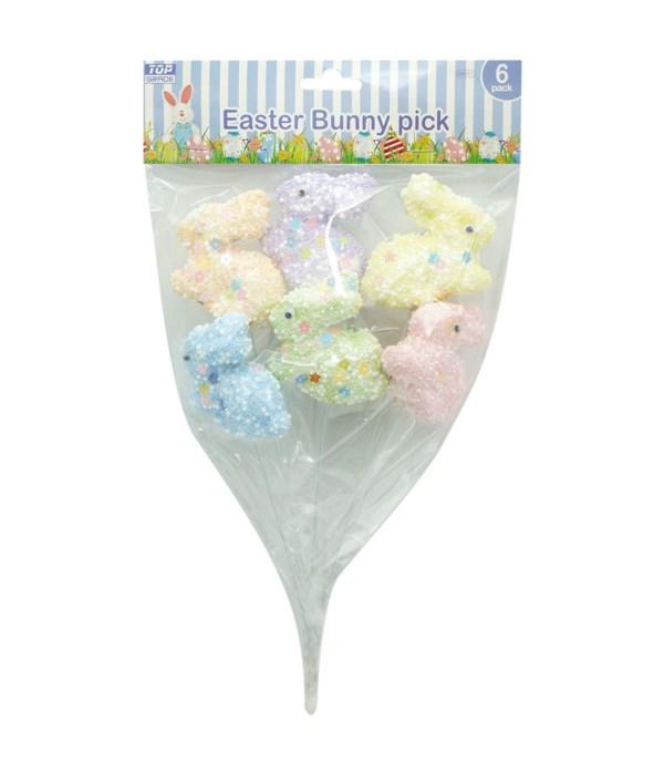 6ct Foam Bunny Pick 48s