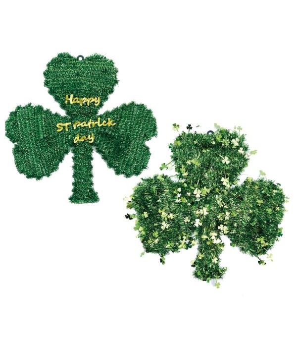 "16"" tinsel shamrock wreath 48s"