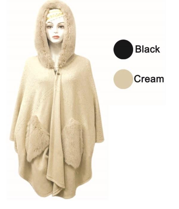 lady's cloak blk&cream.6/24s
