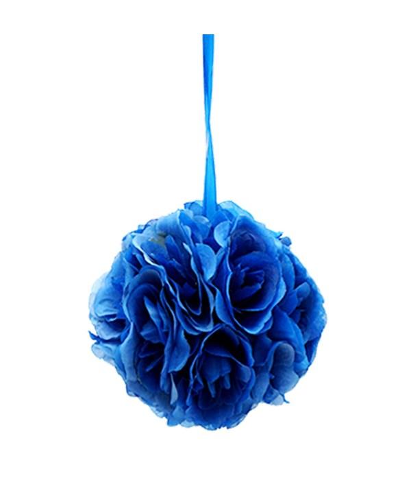 "8""silk pom flower dark blue"