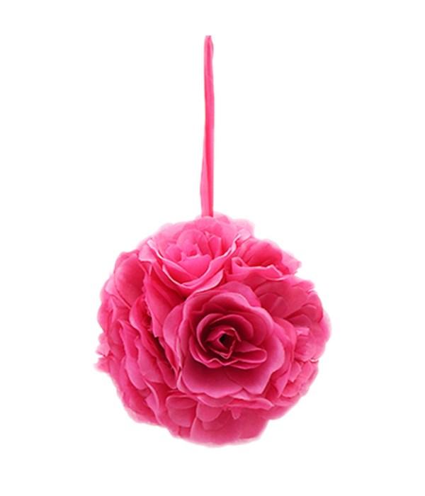 "8""silk pom flower hot pink"