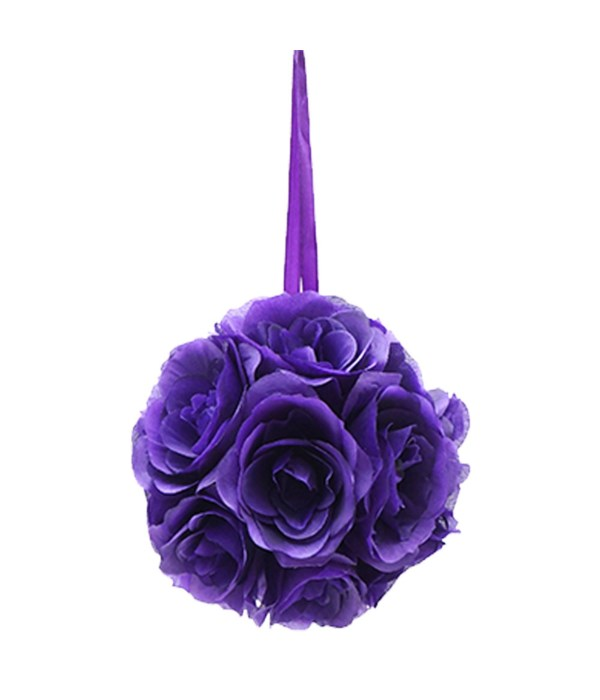 "8""silk pom flower purple"