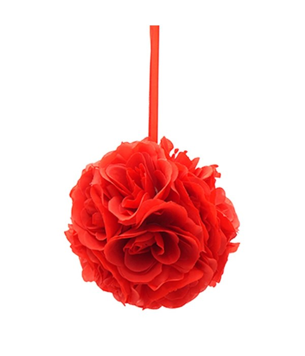 "8""silk pom flower red 12/48s"