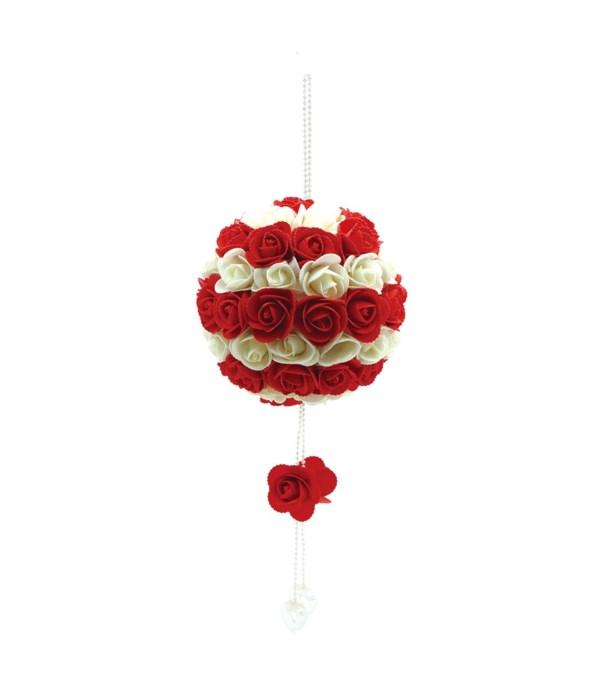 """13"""" hanging rose ball 10s"""