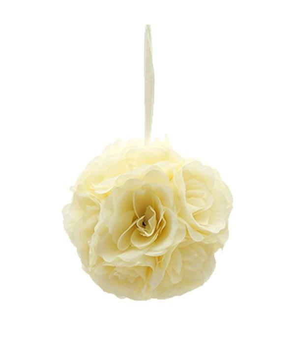 "6""silk pom flower beige 12/48"