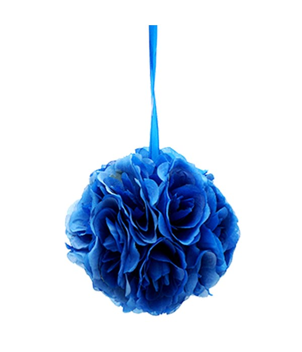 "6""silk pom flower dark blue"