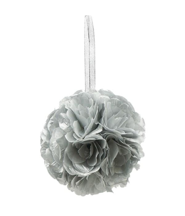 "6""silk pom flower silver"