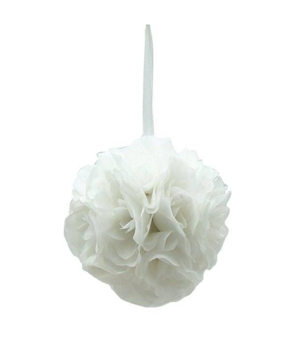 "6""silk pom flower white 12/48"