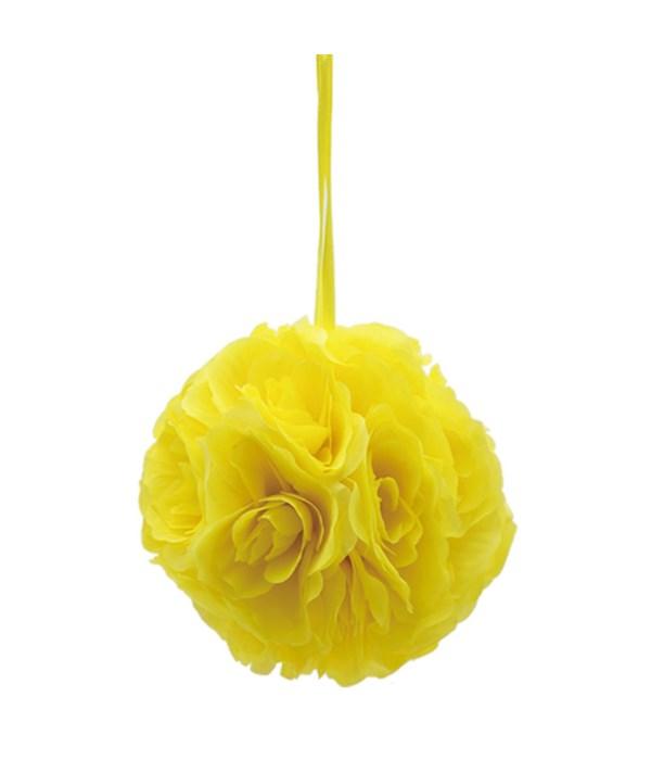 """6""""silk pom flower yellow 12/48"""