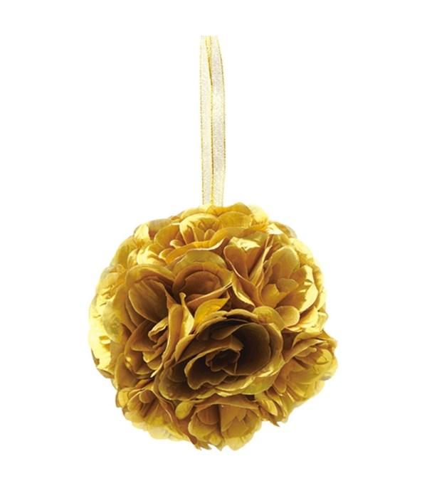 "10""silk pom flower gold 12/24"