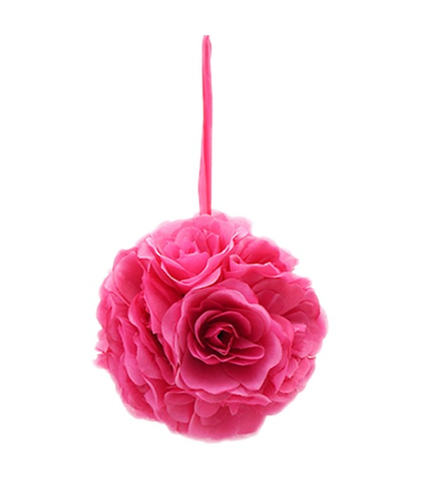 "10""silk pom flower hot pink"