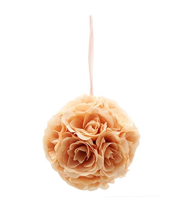 """10""""silk pom flower peach"""
