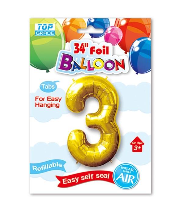 "26""gold foil balloon #3 12/600"