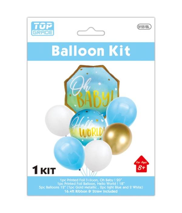 7pc balloon baby boy 12/300s