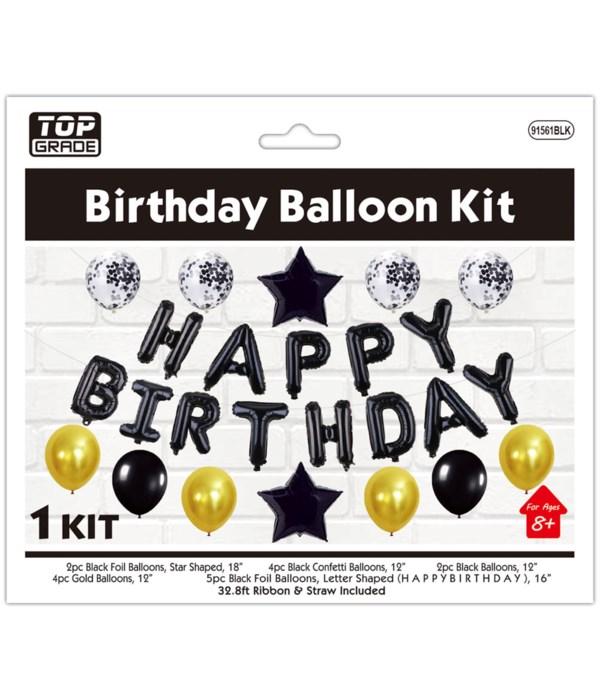 "balloon kit ""b'day"" blk 6/120s"