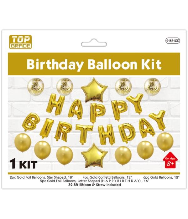 "balloon kit ""b'day"" gold 6/120"