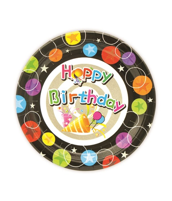 """7""""/8ct b'day pp plate 24/144s"""