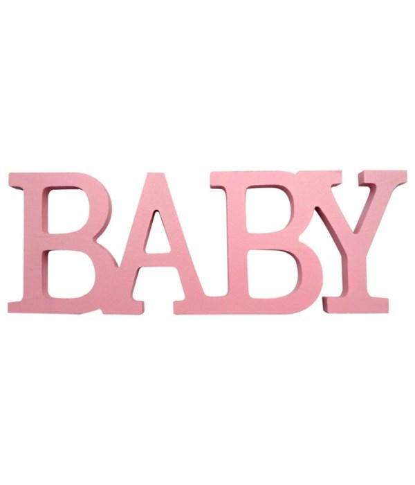 """wooden deco.""""BABY"""" pink"""