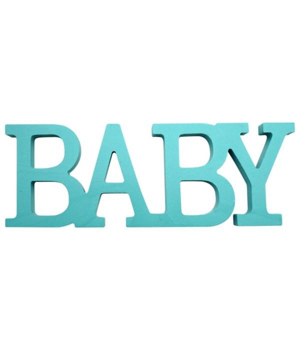 "wooden deco.""BABY"" blue"